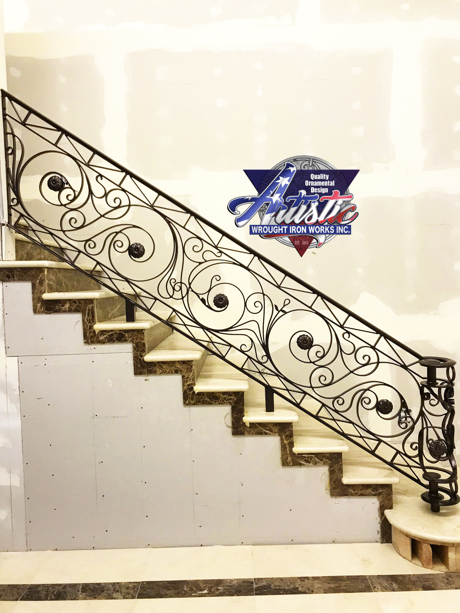 Indoor Iron Stair Railing Custom Design