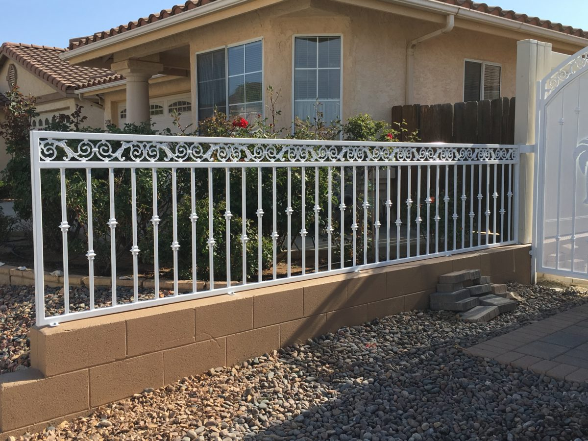 White Iron Fence and Gate - Artistic Wrought Iron Works Inc.