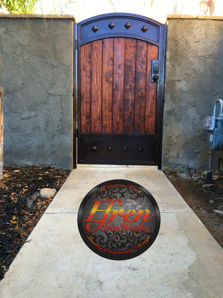 Iron Locked Custom Wood Yard Door Artistic Wrought Iron