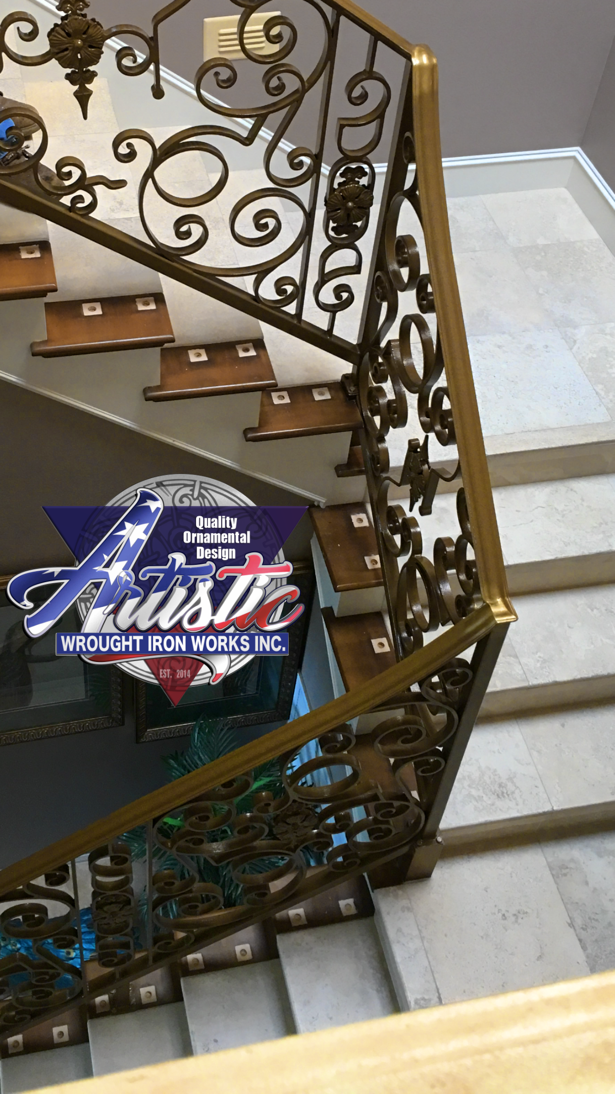Custom Wrought Iron Stair Rail For House Decals Artistic Wrought Iron Works Inc