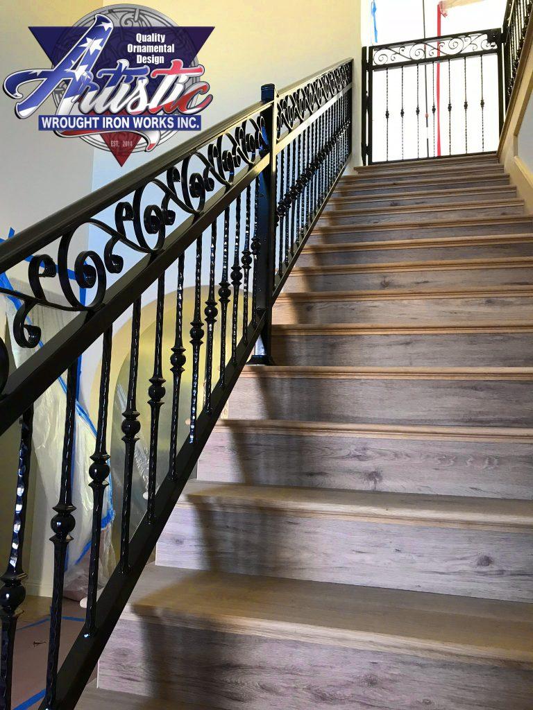 Black Metal Balcony Railing Idea In Modern Minimalist: Black Stair Balcony W/ Gate 449
